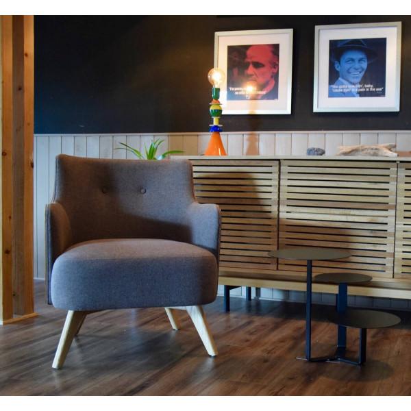 ulvik fauteuil scandinave en tissu gris et bois