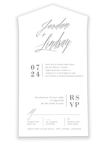 Stacked date All-in-One Wedding Invitations by Amy Kross