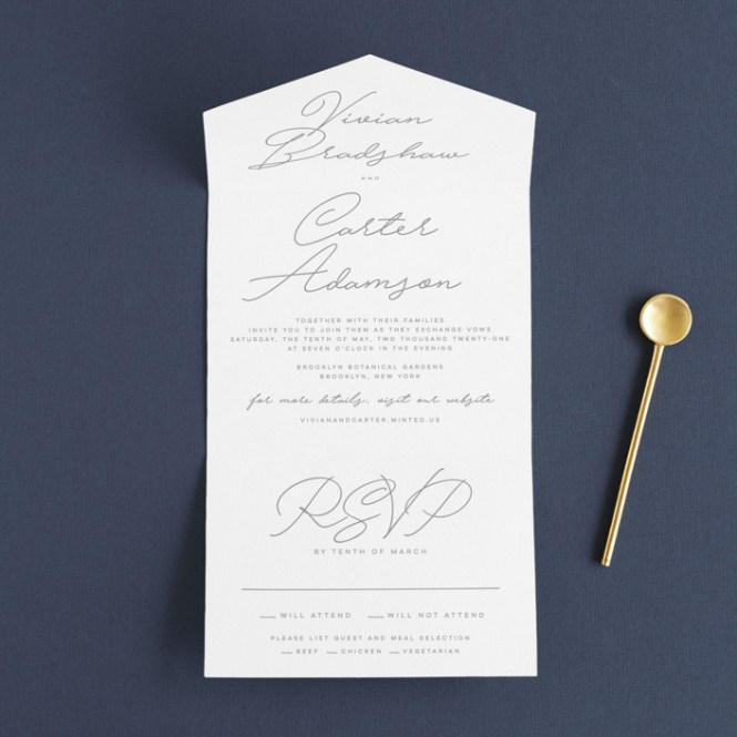Brooklyn Customizable All In One Wedding Invitations Gray By Lauren Chism