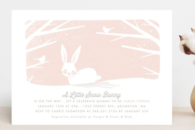 Little Snow Bunny Customizable Baby Shower Invitations In Pink Or White By Karidy Walker