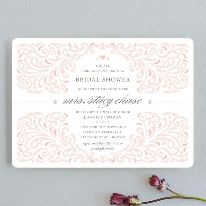Elegant Piping Formal Modern Bridal Shower Invitations In Guava By Mandy Rider