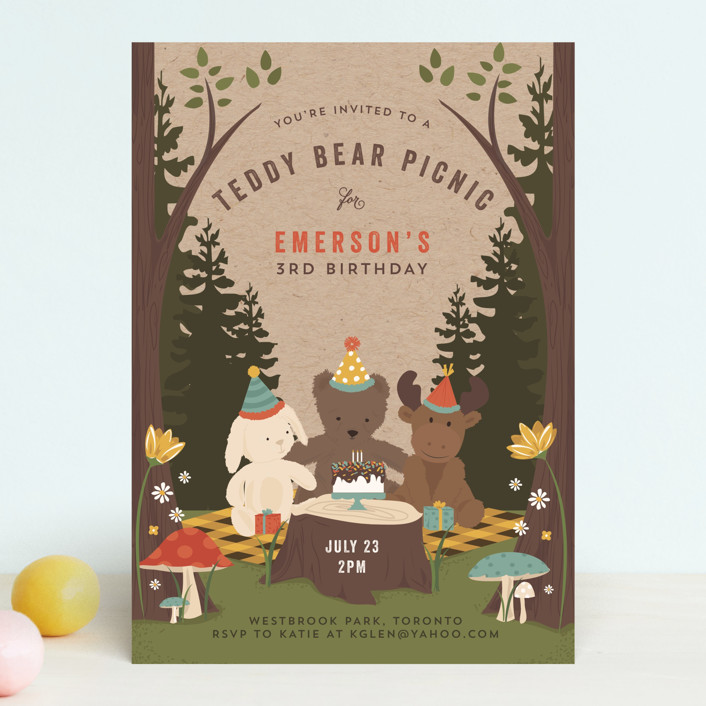 teddy bear picnic customizable children s birthday party invitations in yellow by susan moyal