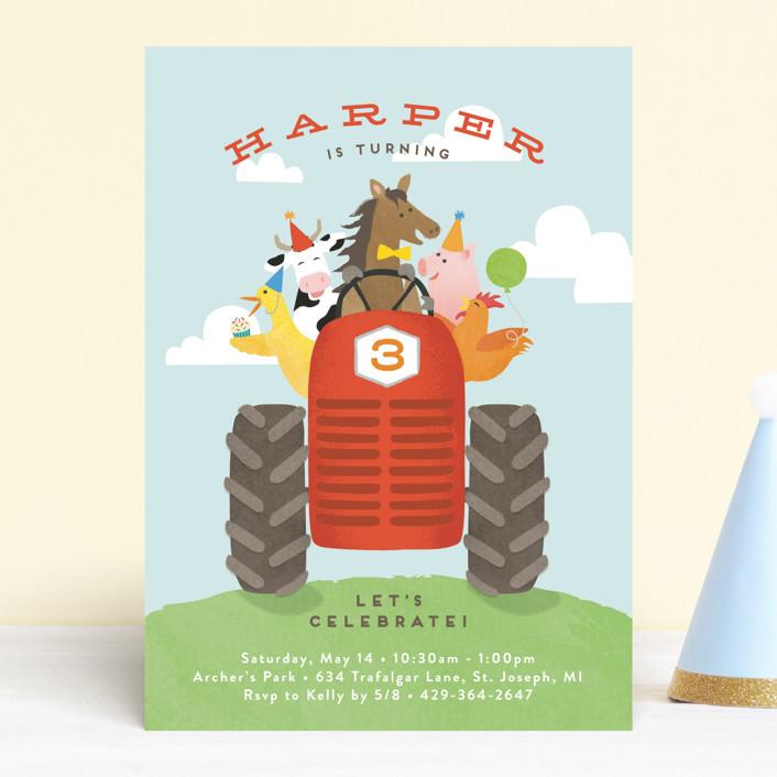 farm animal friends customizable children s birthday party invitations in blue by jennifer wick