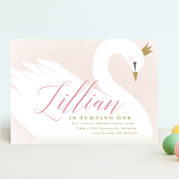 sweet swan princess customizable children s birthday party invitations in pink by karidy walker