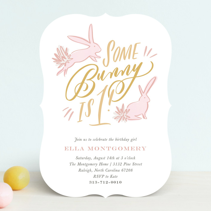 some bunny customizable children s birthday party invitations in pink by julie murray