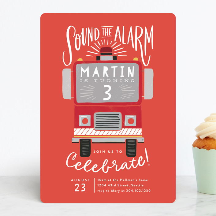 Boys chalkboard fire truck 1st birthday invitation. Sound The Alarm Firetruck Children S Birthday Party Invitations By Alethea And Ruth Minted