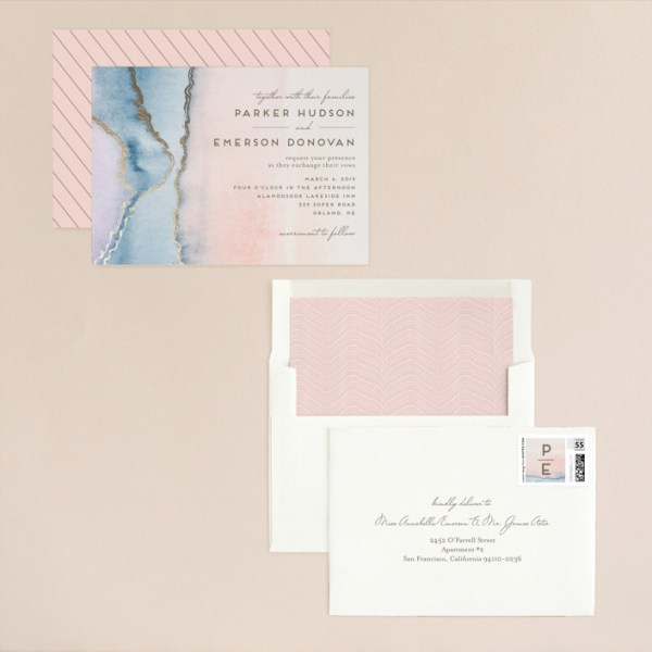 """""""Simple Agate"""" - Modern, Rustic Foil-pressed Wedding Invitations in Cherry Blossom by Petra Kern."""