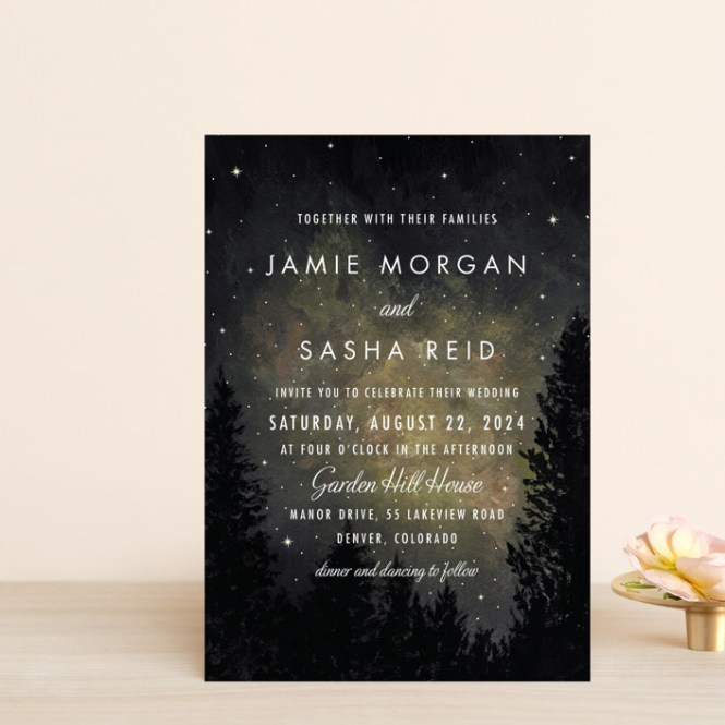 Starry Night Customizable Wedding Invitation Pee Cards In Gray Or Yellow By Elly