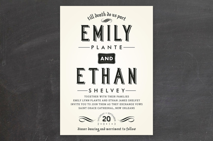 Wedding invitation wording that wont make you barf offbeat bride delightfully dark wedding invitations stopboris