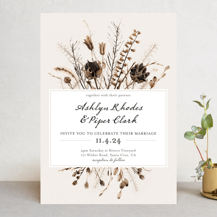 Gone To Seed Rustic Wedding Invitations In Taupe By Honeybunch Studio