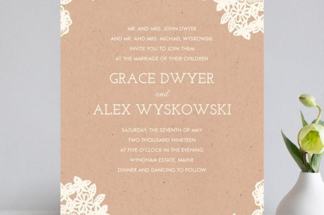 Diy Unique Vintage Wedding Invitations Lace Invitation