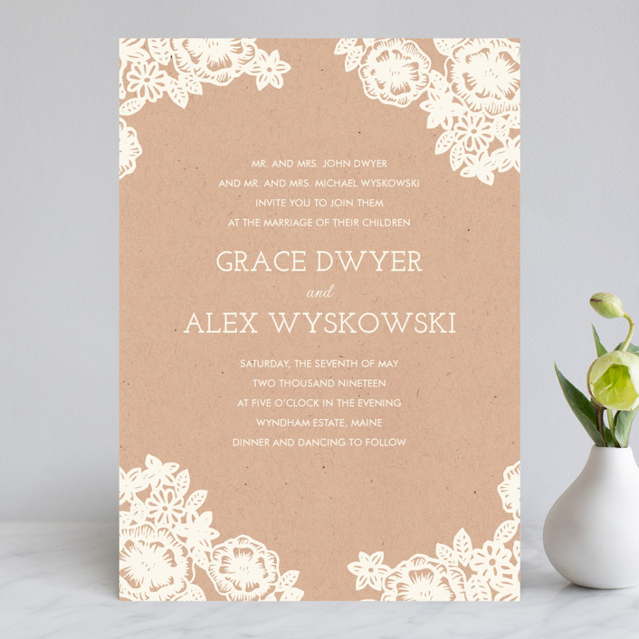 Lace And Kraft Vine Fl Botanical Wedding Invitations In By