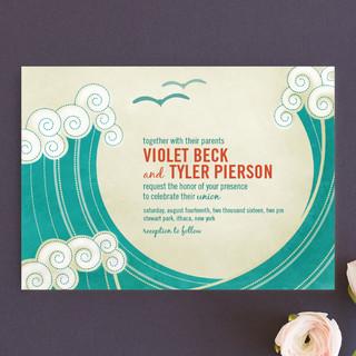 BLOCK PRINT WAVES Wedding Invitations