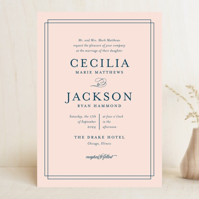 Chic Gala Customizable Wedding Invitations In Pink By Kimberly Fitzsimons