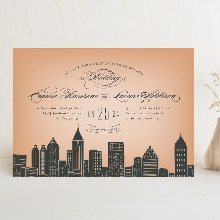 Big City Atlanta Wedding Invitations In Geia Peach By Ay Creative
