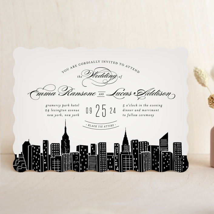 Big City New York Wedding Invitations In Light Taupe By Ay