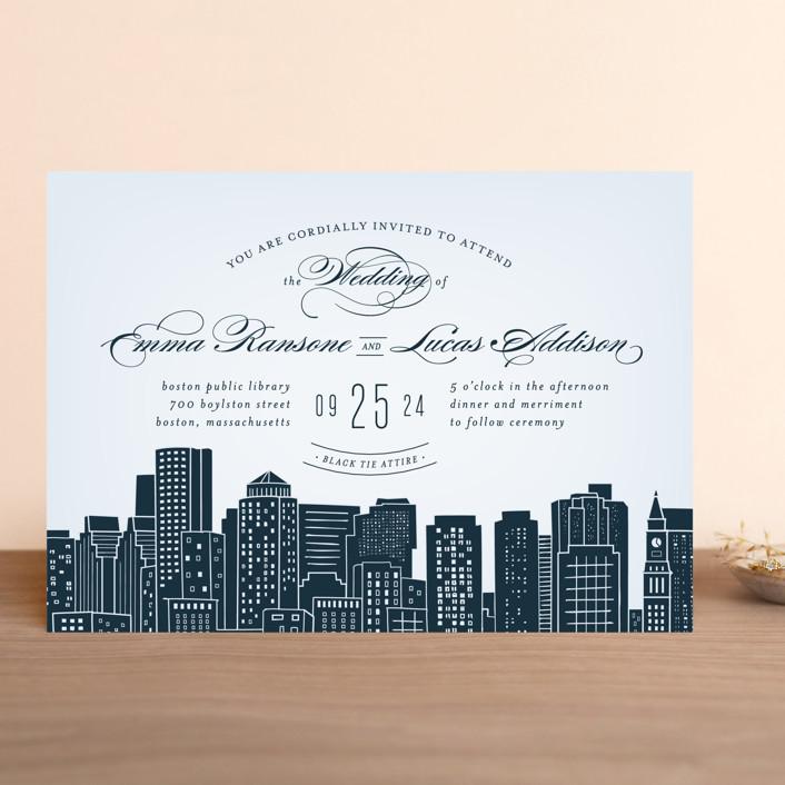 Big City Boston Wedding Invitations In Pale Blue By Ay Creative