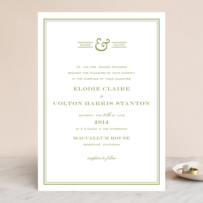 Country Club Wedding Invitations In Spring Green By Annie Clark