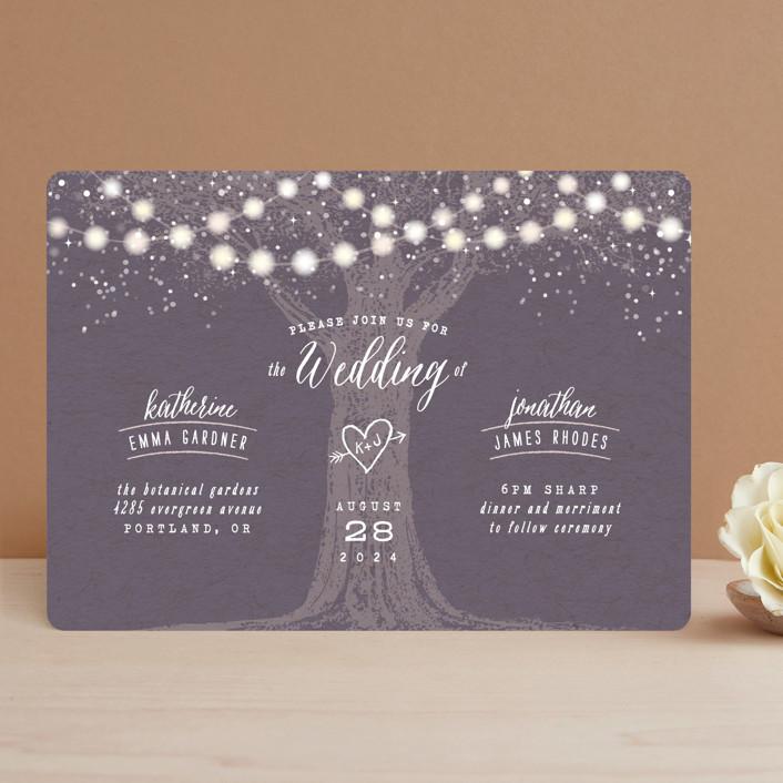 Garden Lights Rustic Wedding Invitations In Plum By Ay Creative