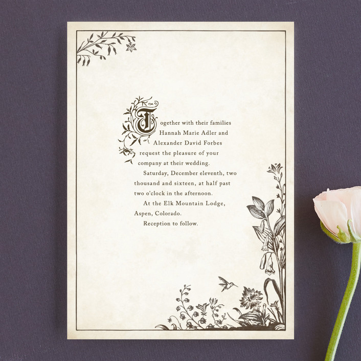 Wedding Invitation Book Style: Literary Wedding Invitations For The Bookworms And The