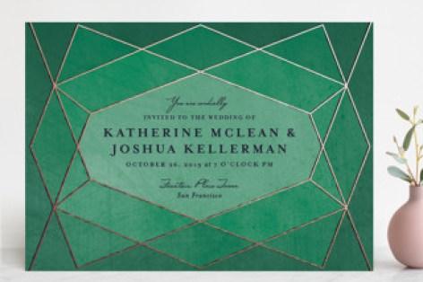Cherry Showers Signature Ecru Wedding Invitations Pee Alma Emerald Green Front