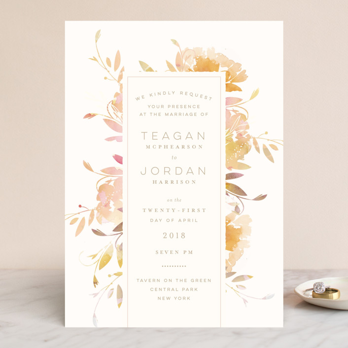Garden Wedding Invitations In Peach By Lori Wemple