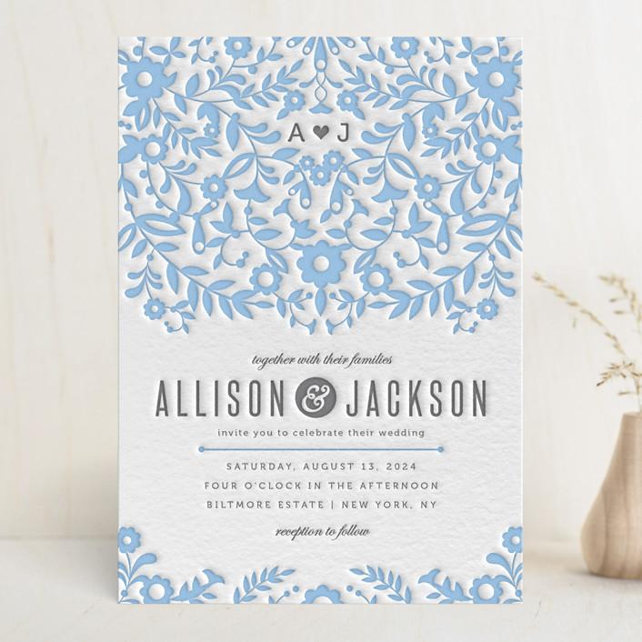 Paper Flowers Monogrammed Rustic Letterpress Wedding Invitations In Sky Blue By Kristen