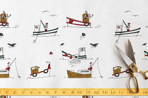 Fishing boats fabric design