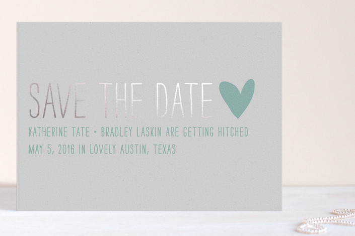 Passing Notes Foil-Pressed Save the Date Cards