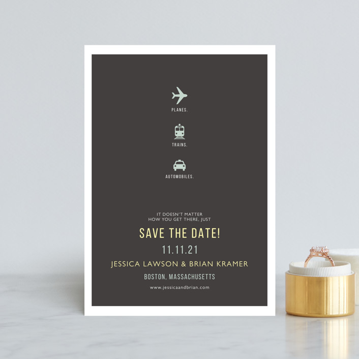 Planes Trains Automobiles Save the Date Postcards
