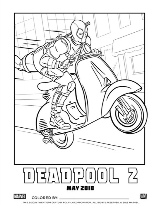 Deadpool 2 Coloring Page Celebrates National Crayon Day