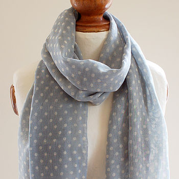Dotty Blue Pure Wool Scarf