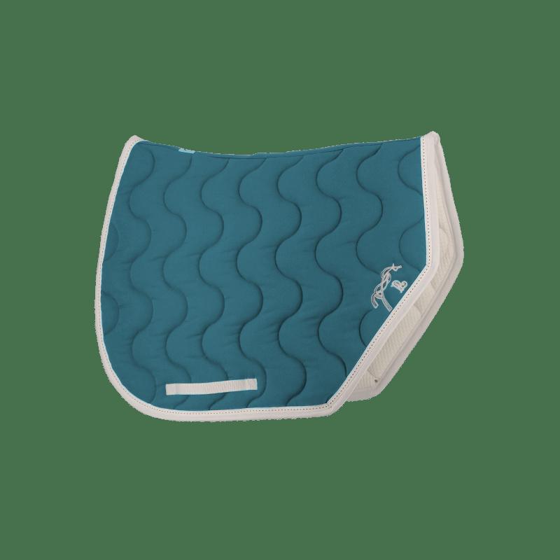 tapis de selle point sellier sport bleu canard blanc