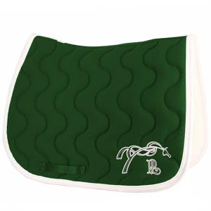 tapis de selle point sellier classique vert foret blanc