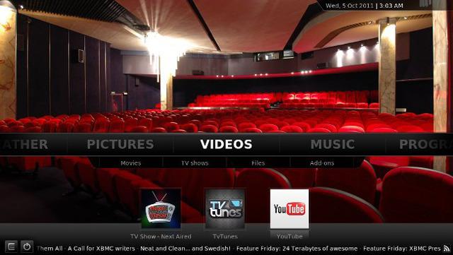 XBMC 11.0 screenshot