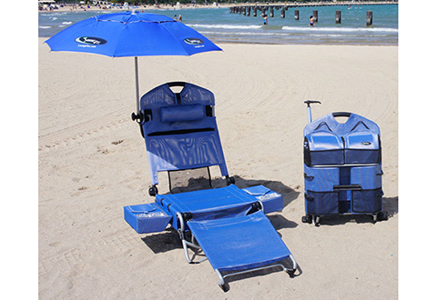 beach chair with wheels moen shower wheeled lounger sharper image 100 satisfaction guaranteed