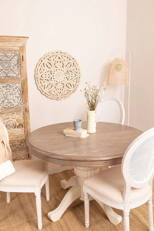 table a manger ronde extensible en bois 120 180x76 cm hektra