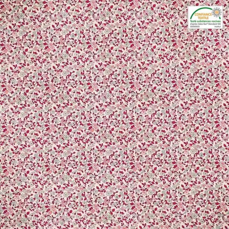 coton ecru petite fleur rouge