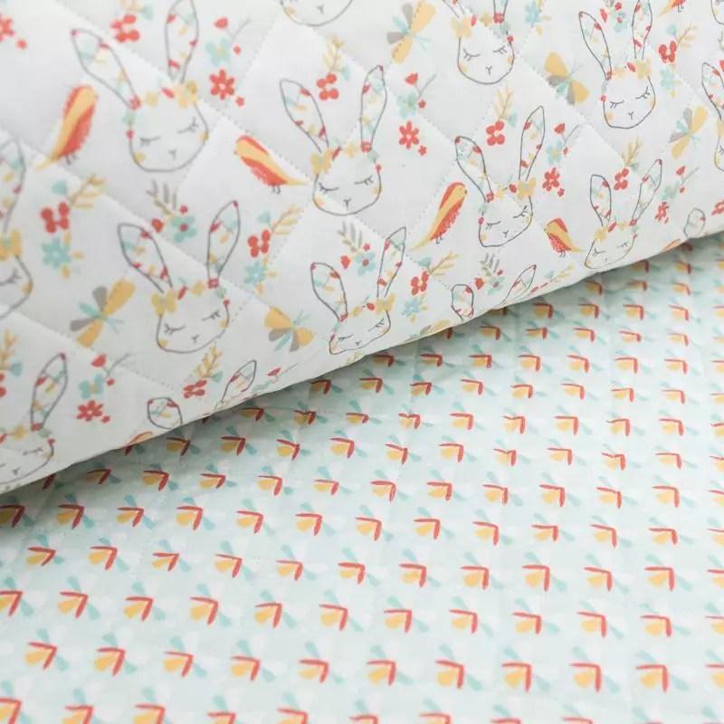 tissu matelasse enfant reversible motif lapin cajoline