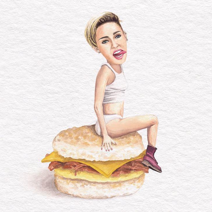 27 - Artista abre el apetito con los famosos posando sobre deliciosos sándwiches
