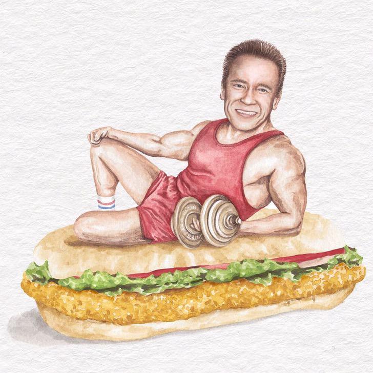 30 - Artista abre el apetito con los famosos posando sobre deliciosos sándwiches