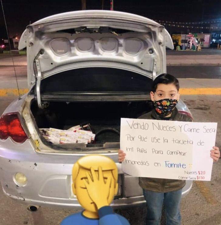 ErVgZ6wXAAA3kOl - Niño compró monedas en Fortnite con tarjeta de su papá. Ahora vende carne y nueces como castigo