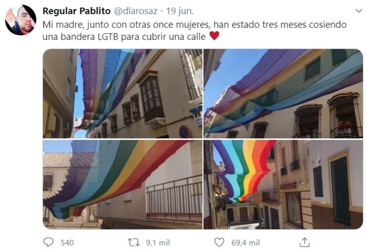 bandera - Vecinas españolas tejen bandera gay de 50 metros para cubrir su calle. Mostraron su colorido apoyo