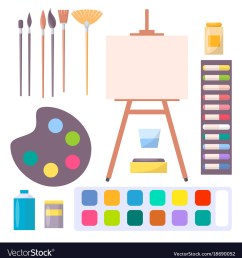 various art supplies set isolated vector image [ 982 x 1080 Pixel ]