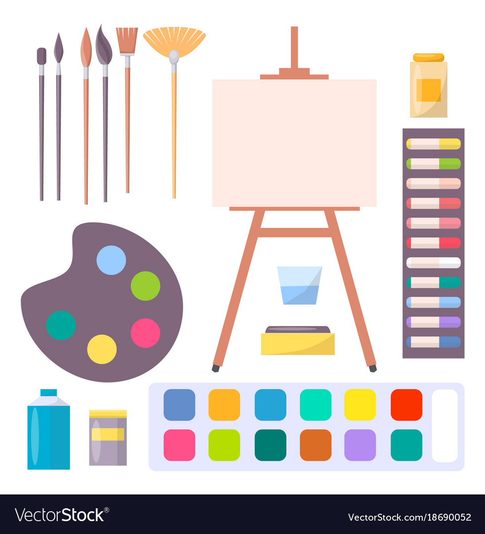 medium resolution of various art supplies set isolated vector image