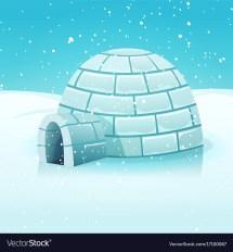 Cartoon Igloo In Polar Winter Landscape Royalty Free Vector