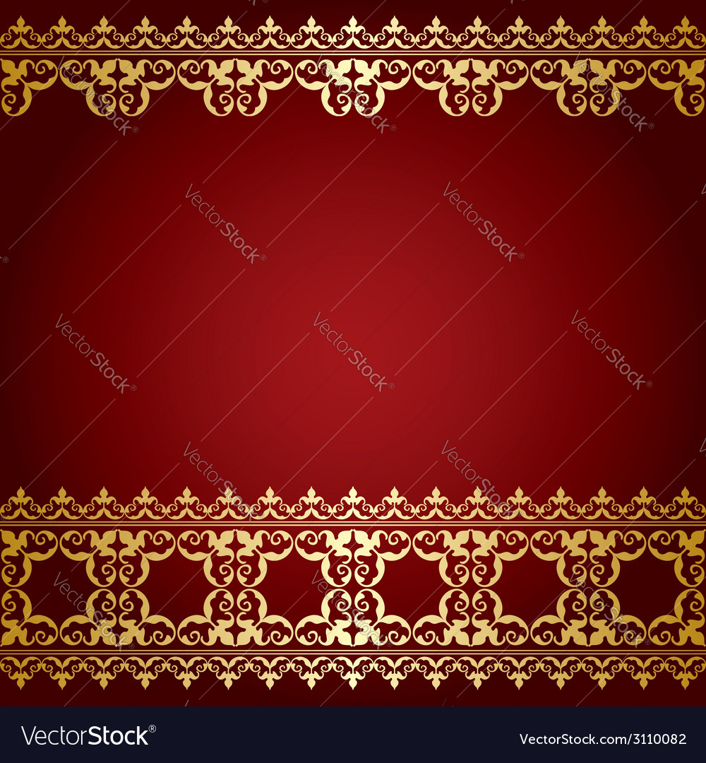 Red and gold background with vintage border Vector Image