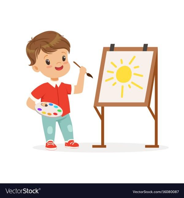 Cute Little Boy Painting Sun Easel Kids Vector
