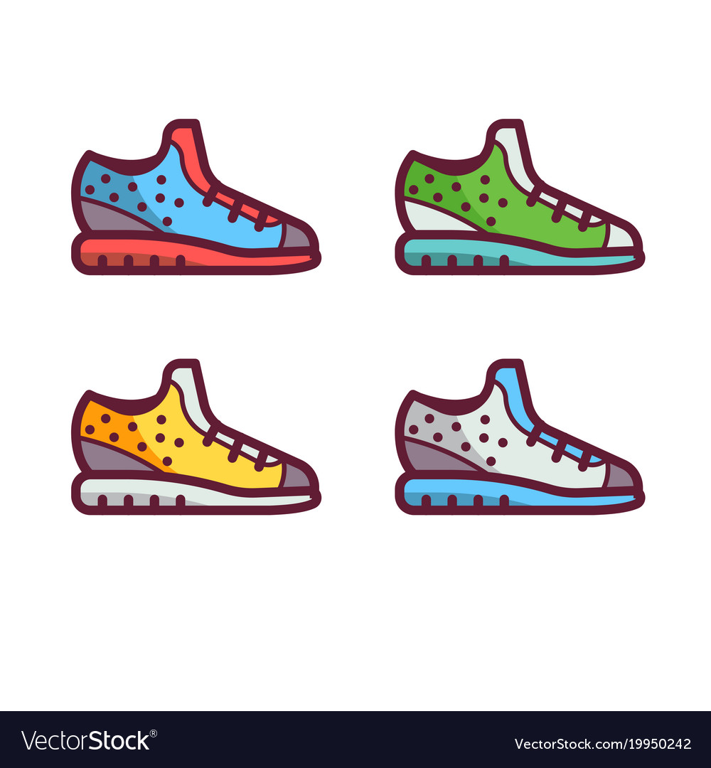 hight resolution of sport running shoes icons vector image