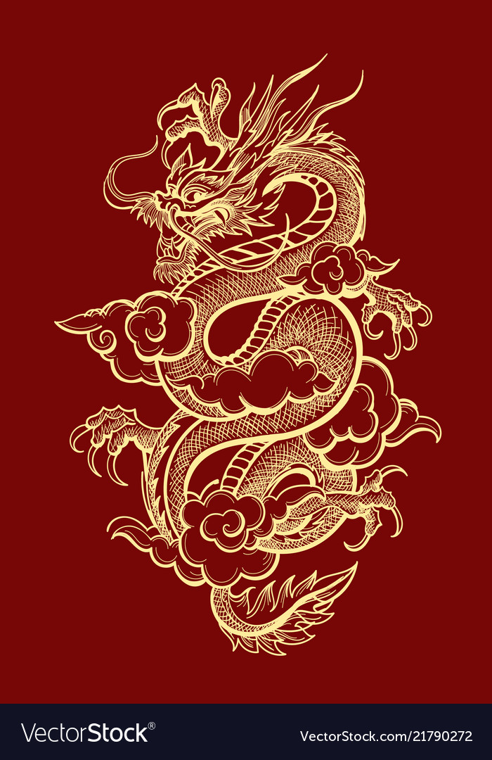 Traditional Dragon : traditional, dragon, Traditional, Chinese, Dragon, Royalty, Vector, Image